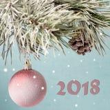 Tarjeta de Navidad Juguete de la Navidad y un topetón en abeto Imagenes de archivo