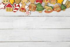 Tarjeta de Navidad de la galleta del pan de jengibre Fotografía de archivo