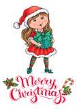 Tarjeta de Navidad de la muchacha de Santa Claus Fotos de archivo libres de regalías