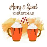 Tarjeta de Navidad linda con el chocolate caliente y el bastón de caramelo ilustración del vector