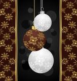 Tarjeta de Navidad linda con las bolas stock de ilustración