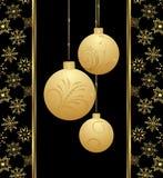 Tarjeta de Navidad linda con las bolas del oro Imagen de archivo libre de regalías
