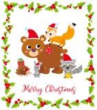 Tarjeta de Navidad linda con los animales salvajes y el marco stock de ilustración