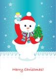 Tarjeta de Navidad linda del muñeco de nieve Imagenes de archivo
