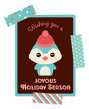 Tarjeta de Navidad linda del pingüino Fotos de archivo