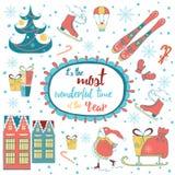 Tarjeta de Navidad linda del vintage con el texto y los elementos childrish Fotografía de archivo libre de regalías