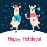 Tarjeta de Navidad linda de la llama Tarjeta de felicitación del invierno de la historieta de la alpaca ilustración del vector