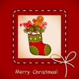 Tarjeta de Navidad. media con las galletas stock de ilustración