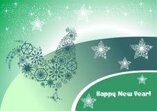 Tarjeta de Navidad misteriosa con un gallo en un fondo verde Ori libre illustration