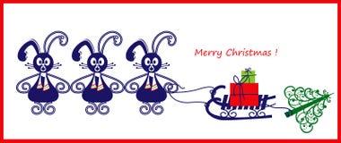 Tarjeta de Navidad o bandera con tres conejos Imagen de archivo