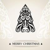 Tarjeta de Navidad ornamental del vintage Fotografía de archivo libre de regalías