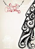 Tarjeta de Navidad ornamental del vintage Fotos de archivo libres de regalías