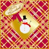 """Tarjeta de Navidad de oro y roja adornada con una marioneta de la nieve y un  """"Merry de Christmas†escritos en lengua español stock de ilustración"""