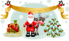 Tarjeta de Navidad. Papá Noel con los regalos y el árbol. Imagenes de archivo