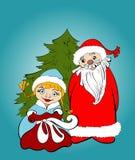 Tarjeta de Navidad Papá Noel y doncella de la nieve con los regalos Fotos de archivo libres de regalías