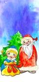 Tarjeta de Navidad Papá Noel y doncella de la nieve con los regalos Foto de archivo