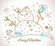 Tarjeta de Navidad para el diseño de Navidad con el muñeco de nieve Fotografía de archivo libre de regalías
