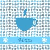 Tarjeta de Navidad para el men? del restaurante, con la taza de t Fotos de archivo libres de regalías