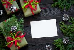 Tarjeta de Navidad para los saludos Imágenes de archivo libres de regalías