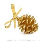 Tarjeta de Navidad - pinecone de oro con el arqueamiento Fotografía de archivo libre de regalías