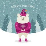 Tarjeta de Navidad plana hermosa del diseño con el oso polar vestido ilustración del vector