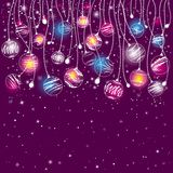 Tarjeta de Navidad púrpura, vector Imagen de archivo