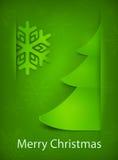 Tarjeta de Navidad, árbol verde en verde Foto de archivo