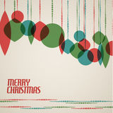Tarjeta de Navidad retra con las decoraciones de la Navidad Imagen de archivo libre de regalías
