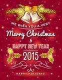 Tarjeta de Navidad roja con el ornamento decorativo Imagen de archivo libre de regalías