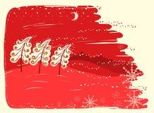 Tarjeta de Navidad roja con los árboles en fondo del paisaje de la nieve libre illustration