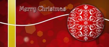 Tarjeta de Navidad Rojo y amarillo con la decoración blanca Imagen de archivo