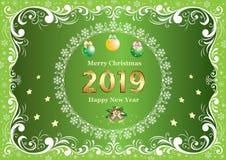 Tarjeta de Navidad de saludo de la Feliz Navidad y del Año Nuevo 2019 ilustración del vector