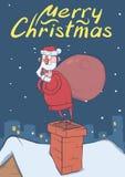 Tarjeta de Navidad de Santa Claus confusa divertida con el bolso grande que se coloca en una chimenea en ciudad nevosa de la noch libre illustration