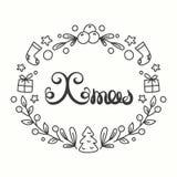 Tarjeta de Navidad Tipografía de las vacaciones de invierno Letras Handdrawn Marco con la línea Art Christmas Elements Imagen de archivo