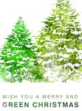 Tarjeta de Navidad verde Imagenes de archivo