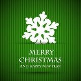 Tarjeta de Navidad verde del copo de nieve Fotos de archivo libres de regalías