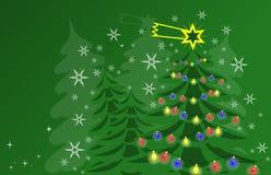Tarjeta de Navidad verde y blanca Imagenes de archivo