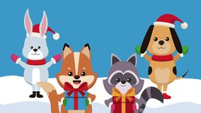 Tarjeta de Navidad y animación linda de los animales HD libre illustration