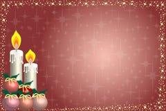 Tarjeta de Navidad y estrellas de la vela Foto de archivo libre de regalías