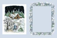 Tarjeta de Navidad y marco Foto de archivo libre de regalías