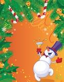 Tarjeta de Navidad y muñeco de nieve Foto de archivo libre de regalías
