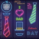 Tarjeta de neón para el día de padre ilustración del vector
