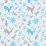 Tarjeta de Noel con los ciervos y las decoraciones de la Navidad. Foto de archivo libre de regalías