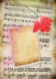 Tarjeta de notas musicales vieja Fotos de archivo libres de regalías