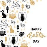 Tarjeta de oro con ángel, huevo, liebre, paloma de Pascua