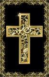 Tarjeta de oro cruzada de Pascua Imagen de archivo libre de regalías