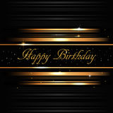 Tarjeta de oro del feliz cumpleaños fotos de archivo