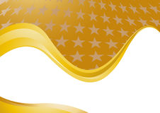 Tarjeta de oro del fondo con las estrellas Ilustración del Vector