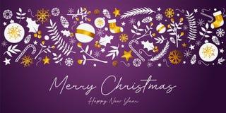 Tarjeta de oro del ornamento de la bandera de la Feliz Navidad en Backg púrpura oscuro libre illustration