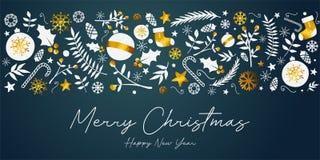 Tarjeta de oro del ornamento de la bandera de la Feliz Navidad en Teal Backgro oscuro libre illustration